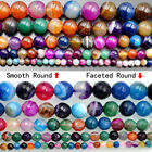 Natural Stripe Agate Gemstone Round Beads 15.5'' 6mm 8mm 10mm 12mm Pick Color