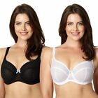 Gorgeous Dd+ Womens Pack Of Two Black And White Flocked Spot T-Shirt Bras