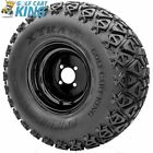 """10"""" Black Steel Golf Cart Wheels and (22x11-10 or 20x10-10) X-Trail Tires Combo"""