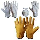 Leather Lorry Drivers Gloves Work Gloves Safety Lined DIY Gloves S TO XL