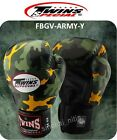 TWINS SPECIAL BOXING GLOVES FBGV-ARMY-Y YELLOW MUAY THAI FIGHTING  MMA  12 OZ