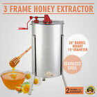 "THREE 3/6 FRAME HONEY EXTRACTOR STAINLESS STEEL DURABLE DRUM TANK 2"" OUTLET"
