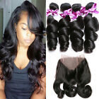 Brazilian Virgin Hair Loose Wave 360 Lace Frontal Closure With 4 bundles/400g