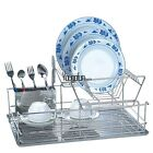 Stainless Kitchen 2 Tiers Dish Drying Rack Drainer Dryer Tray Cutlery Holder HYF