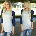 New Women's Loose 3/4 Sleeve Casual Blouse Shirt Crew Neck Tops Fashion T-shirt