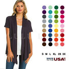 Women Basic Solid Lightweight Open Front Short Sleeve Wrap Cardigan Sweater Top