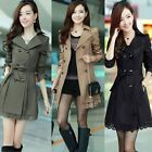Women Long Sleeve Slim Fit Trench Double Breasted Coat Jacket Outwear NEW