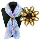 Women Vintage Jewlery Flower Trycyclic Scarf Holder Clip Ring Gift Buckle