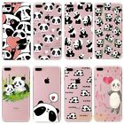 Cute Panda Pattern Crystal Clear Soft TPU Back Case Cover For iPhone 6S 7 7 Plus