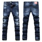 New Mens Italy Style *Distressed *Destroy *Slim Pants Blue JEANS Trousers D1425T