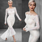 FASHION WOMEN'S LONG SLEEVE EVENING COCKTAIL WEDDING PARTY LACE FISHTAIL DRESS