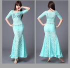 New 2017 Women Lace Belly Dance Costumes Stage Club Flower Long Dress