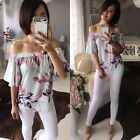 Mint Spring Floral off the shoulders women top Blouse 8 10 12 14 NEW