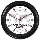 24hr Wall Clock World Time Zone (Any Place Name or Text)