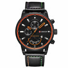 Men's CURREN Leather Stainless Steel Luxury Sport Analog Quartz Date Wrist Watch