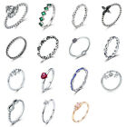 DIY European Sparkling CZ Accents 925 Sterling Silver Charm Ring Various Styles