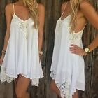 Women Summer Casual Sleeveless Party Evening Cocktail Lace Short Mini Dress FN