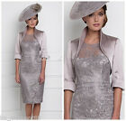 Knee Length Lace Mother of the Bride Suit Outfit Wedding Mum Dress Free Jacket
