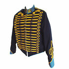 """Steampunk"" Military Jacket by SDL in navy + blue trim & gold braid decoration"