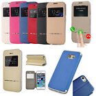 Shockproof Flip PU Leather Cover Window View Stand Case Skin Shell for Phones