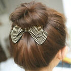 Rhinestone Crystal Double Layer Ribbon Bow Knot Hair Pins He