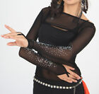New Belly Dance Costumes Ballroom Bolero Shrug Stretch Mesh Glitter Arm Gloves