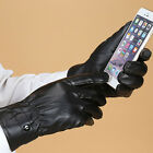Men's High Quality Black Touch Screen Gloves PU Leather Gloves Winter Mittens