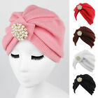 Women Indian  Stretchy Cotton Pearl Turban Hat Head Wrap Cap Headwrap