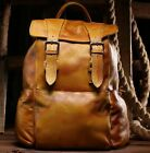 New Women's Vintage Genuine Cow Leather Backpack Travel School Bag Yellow Size M