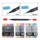 12 18 24 Colours Art and Graphic Drawing Manga Twin Tip Brush Sketch Marker Pen