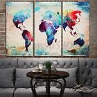 3pcs Abstract Colorful World Map HD Canvas Print Wall Art Picture Decor Unframed