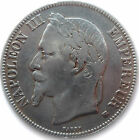 FRENCH COIN, 1869 BB, STRASBOURG MINT, 5 FRANCS SILVER, NAPOLEON III, GRADE XF+