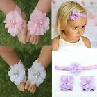 Set Foot Cute Baby Toe Blooms Headband+Flower Barefoot Sandals Hairband Girl