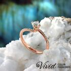 Engagement Ring Size 7 Pave Diamond 0.84 CT SI/F-G 14k Rose Gold Women Enhanced