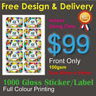 Business Cards Size (90mm x 55mm) Label Sticker Customised Colour Printing