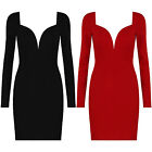 New Plunge Sweetheart Neck Long Sleeve Bodycon Short Mini Party Evening Dress