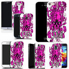 PERSONALISED INITIALS SILICONE CASE FOR MANY MOBILES - pink skull vine GEL