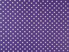 PURPLE / WHITE SPOTS ~ 100% COTTON PATCHWORK CRAFT FABRIC BY THE METRE  / FQ