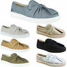 LADIES WOMENS TRAINERS SLIP ON PUMPS FAUX SUEDE FLAT SNEAKERS SHOES SIZE NEW 3-8