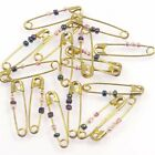 20/50 Small Safety Pins with Beads Solid Brass 24mm x 5mm Craft Jewellery Mini