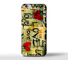 Love Hearts Words Grafitti Hard Case Cover For Apple iPhone Models