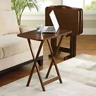 5 Piece Tray Table Set Folding Wood TV Game Snack Dinner Couch Laptop Stand NEW