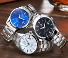 Luxury DGJUD Stainless Steel Men's Date Analog Quartz Silver Black Wrist Watch