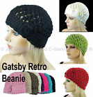 Ladies Crochet Knit Retro Great Gatsby 20s Party Flower Lacy Beanie Cloche Hat