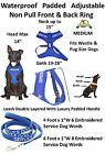 Non Pull Vest Harness SERVICE DOG Padded Waterproof Front Back Ring Leash Set