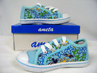 New Toddler Girl Canvas Low -Top Athletic Shoe  ( Lt Blue-Sealife )  Sizes 7 -11