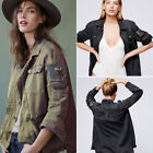 Point Collar Women's Autumn Embellished Army Military Shirt Jacket Outwear Coat