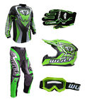 Kids MX Motocross Wulfsport 2017 ATTACK Pant Shirt Glove Goggle Helmet Green #X8