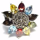 SUNFLOWER RING Multi Stones & Marcasite .925 STERLING SILVER (Size 6,7,8)