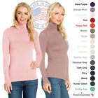 FACA Womens Thin Turtleneck Slim Fit Pullover Sweater T-Shirt Top (S-XXXXXL)